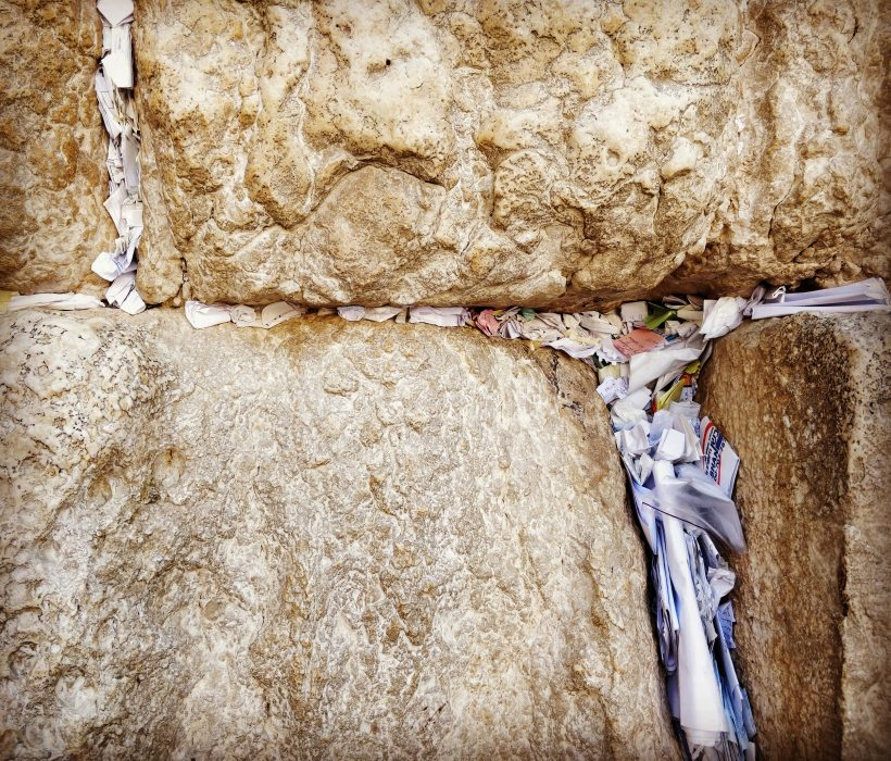 notes shoved into cracks in the Western Wall